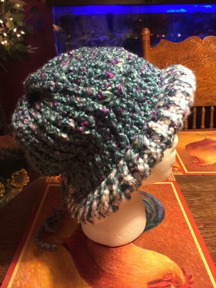 837c51658f6 Side view of my summer hat I made on my knitting loom!