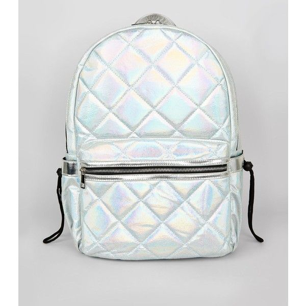 New Look Pale Blue Metallic Backpack ($36) ❤ liked on Polyvore featuring bags, backpacks, pale blue, new look bags, metallic backpack, daypack bag, rucksack bags and backpack bags