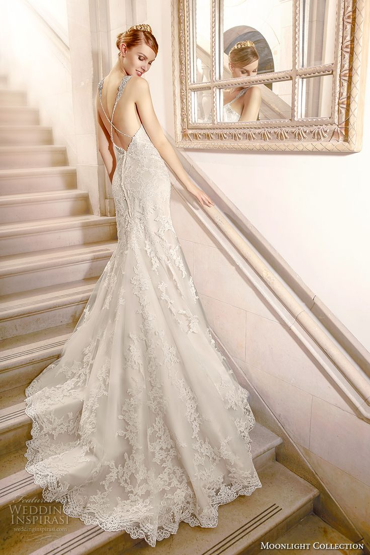 moonlight collection fall 2016 bridal sleeveless beaded strap v neck fully embellishment elegant sheath wedding dress low back chapel train (j6438) bv