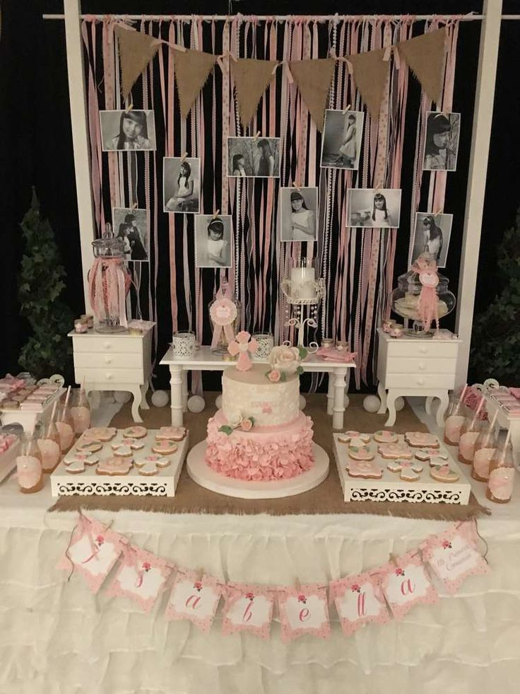 This Shabby chic Communion Party is beautiful. Love the backdrop with black and white photos!! See more party ideas and share yours at http://CatchMyParty.com