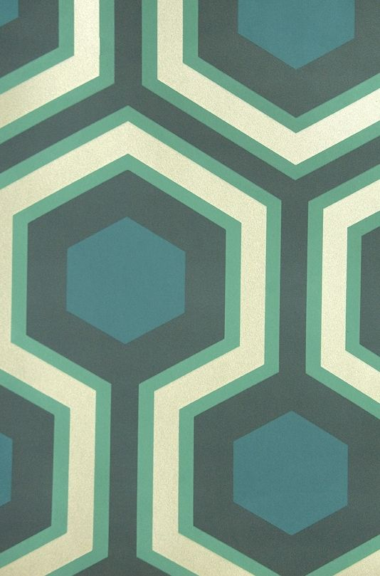 Hicks' Grand Hexagon Wallpaper Large Geometric design wallpaper in aqua and teal with metallic silver embellishment.