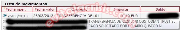Recibido el 15º pago de Qustodian de 10,10 € que se suman a los otros tres pagos mensuales constantes. Comprobante en http://evitalacrisis.com/comprobantes-de-pagos/recibido-el-15o-pago-de-qustodian/