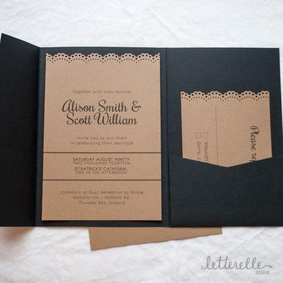 Black & Kraft Lace Cut Wedding Invitation 5X7 von letterelledesign