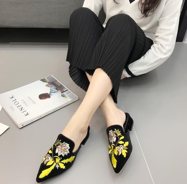 Europe Women's Pull On Pleuche Pointed Toe Embroidery Floral Slippers Shoes