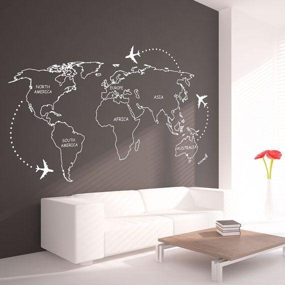 Contours de carte mondiale avec Continents Decal - grand monde carte Wall Sticker vinyle - monde carte murale autocollant