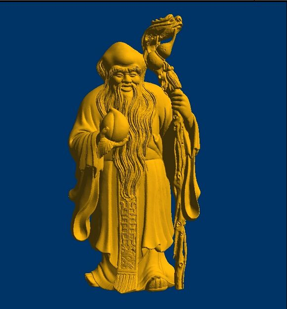 3D models Round figure for CNC relief in STL file format The god of longevity 9