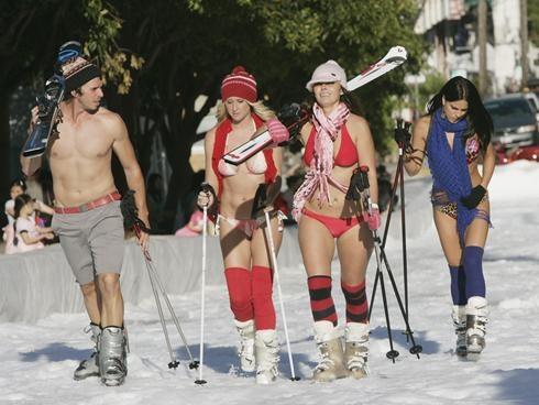 Snow bunnies bikini ski trip