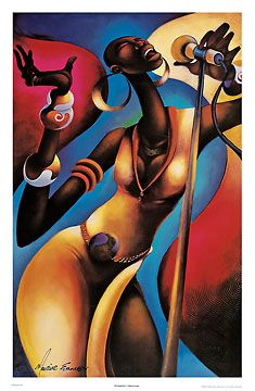 The Songstress-Maurice Evans, print, US artist, african american art, figurative, music, the songstress