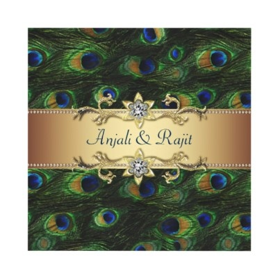 Emerald Green Gold Royal Indian Peacock Wedding Personalized Invites $1.70 each (from 85 cents when ordered in bulk of at least 10 announcements). #indianweddings #customized #peacocks