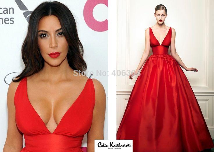 Настоящее простые сексуальная ким кардашян красный v-образным вырезом спагетти ремень A-Line пром платье знаменитости платья новинка
