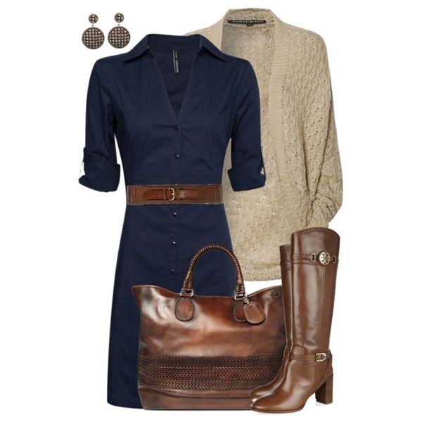 Коричневые сапоги и сумка к синему платью