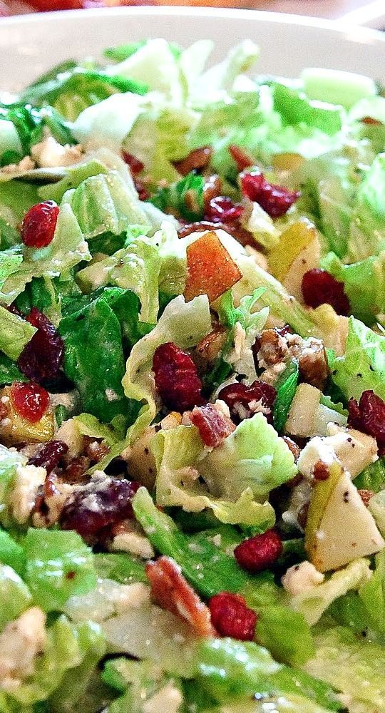 Autumn Chopped Salad with Pears, Cranberries, Pecans, Bacon, and Feta.