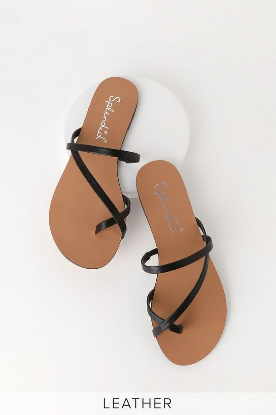 58afaec51fd02a The Splendid Trenton Black Flat Leather Sandals are the perfect