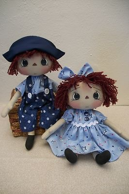 "12""Primitive Raggedy Ann & Andy set/2 in blue w/ stars painted faces home decor"