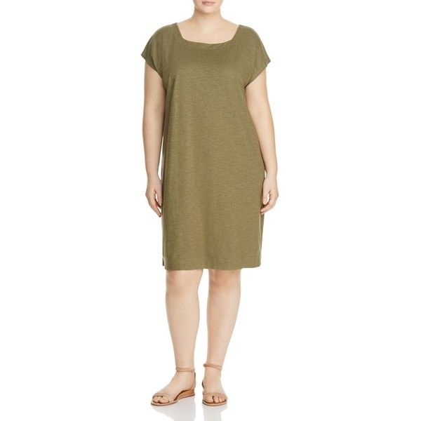 Eileen Fisher Plus Short Sleeve Square Neck Dress ($190) ❤ liked on Polyvore featuring plus size women's fashion, plus size clothing, plus size dresses, olive, brown t shirt dress, olive green dress, olive t shirt dress, army green t shirt dress and t-shirt dresses