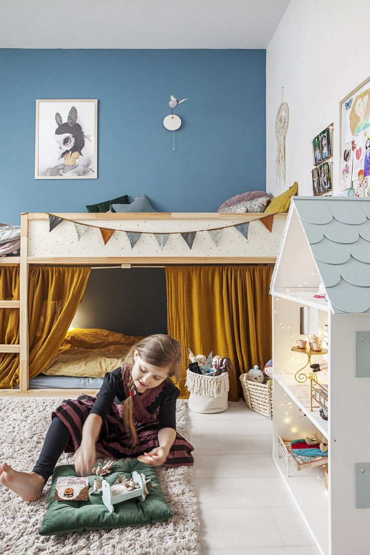 Beautiful blue and mustard girls room