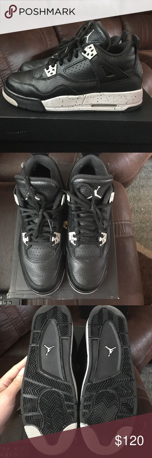 Jordan Retro 4 Oreo Barely worn, minimal creasing, includes toe box inserts and original box; size 7Y; WILL CONSIDER REASONABLE OFFERS! Jordan Shoes Sneakers