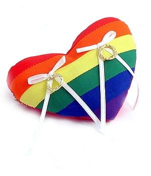 Rainbow heart ring pillow #LGBT #wedding <3 themarriedapp.com hearted <3