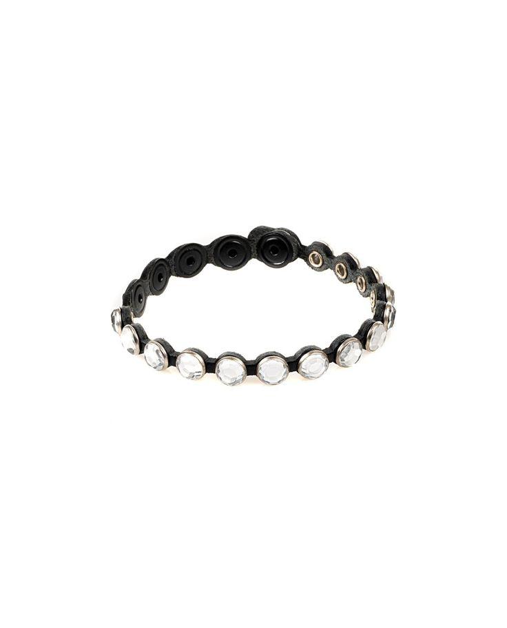 81 CARATI Black leather bracelet with crystals clip closure