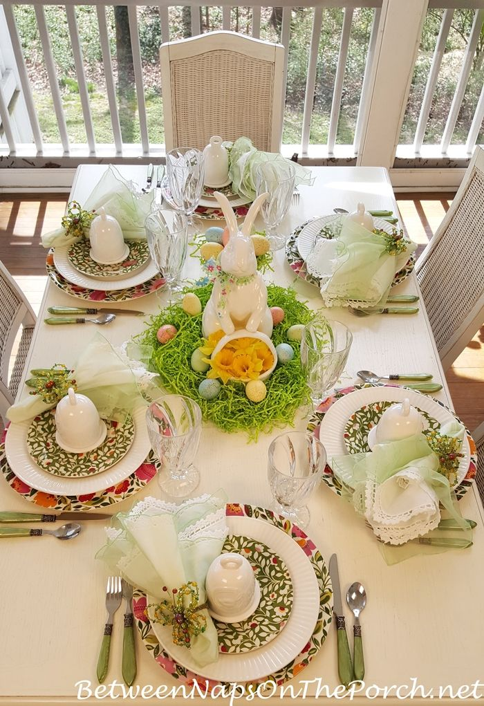 Spring Easter Table Setting With Spode Emmas Garland Bunny Centerpiece