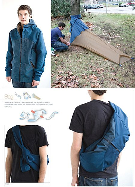 It's a coat, backpack and tent all-in-one.    During warm weather, the coat can be folded and strapped around the wearer as a backpack for easy transport. When it's time to set up camp, the interior lining can be stretched out and pegged—creating a private, protective cocoon.