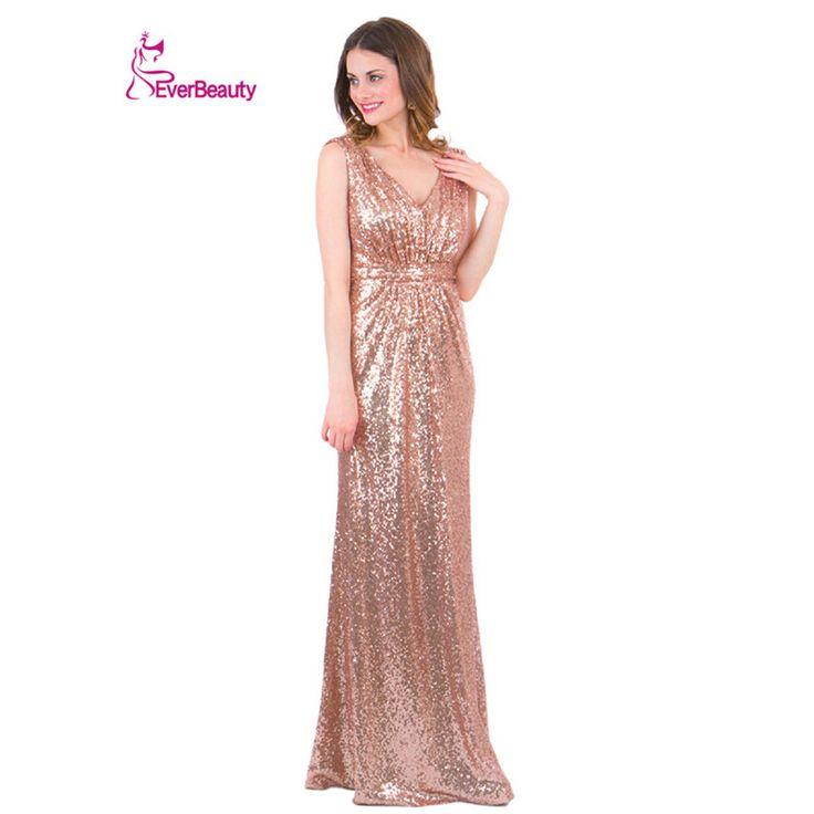 Rose Gold Sparkly Bridesmaid Dresses Long Sequins V-neck 2016 Wedding Party Dress Vestidos De Madrinha De Casamento #women, #men, #hats, #watches, #belts, #fashion