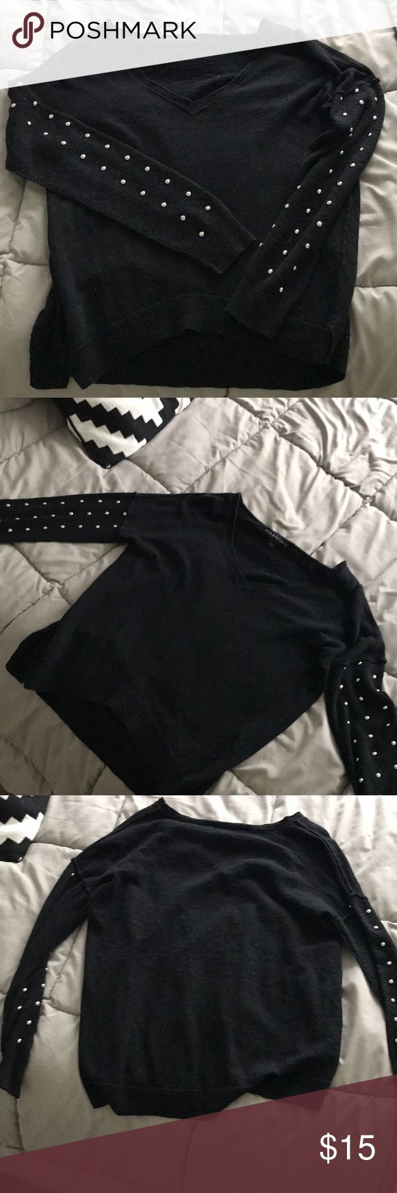 Studded sweater Rock & Republic black and silver studded sweater. Super edgy and cute for any occasion. Size small Rock & Republic Sweaters V-Necks