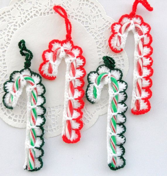 Crochet Christmas Tree Decorations Holiday Ornaments Candy Cane