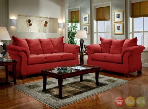Modern Red Fabric Sofa & LoveSeat Casual Living Room Furniture Set 6700  Redbrick - 21 Best Images About Living Room On Pinterest Red Living Rooms