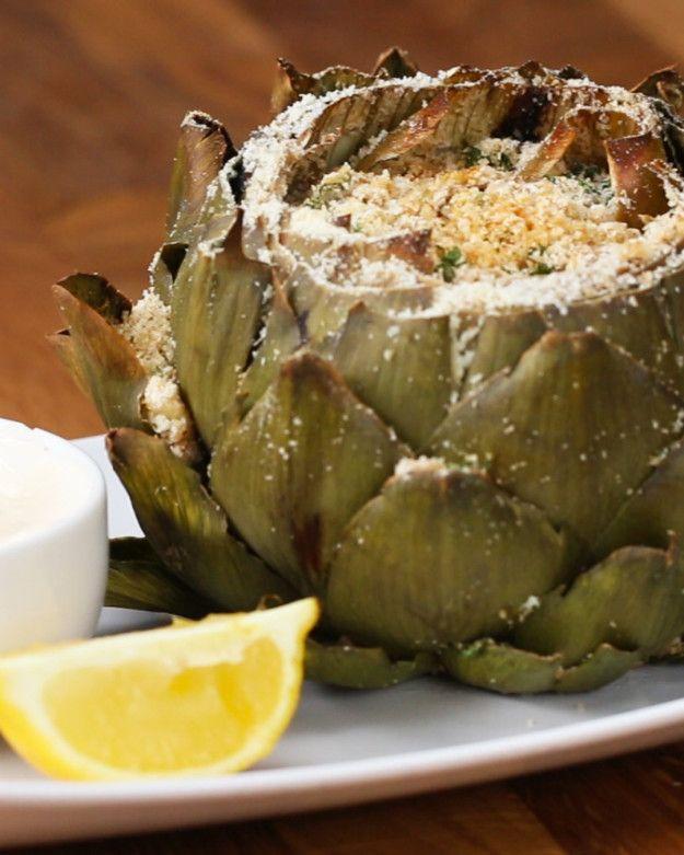 Garlic Parmesan-Stuffed Artichokes