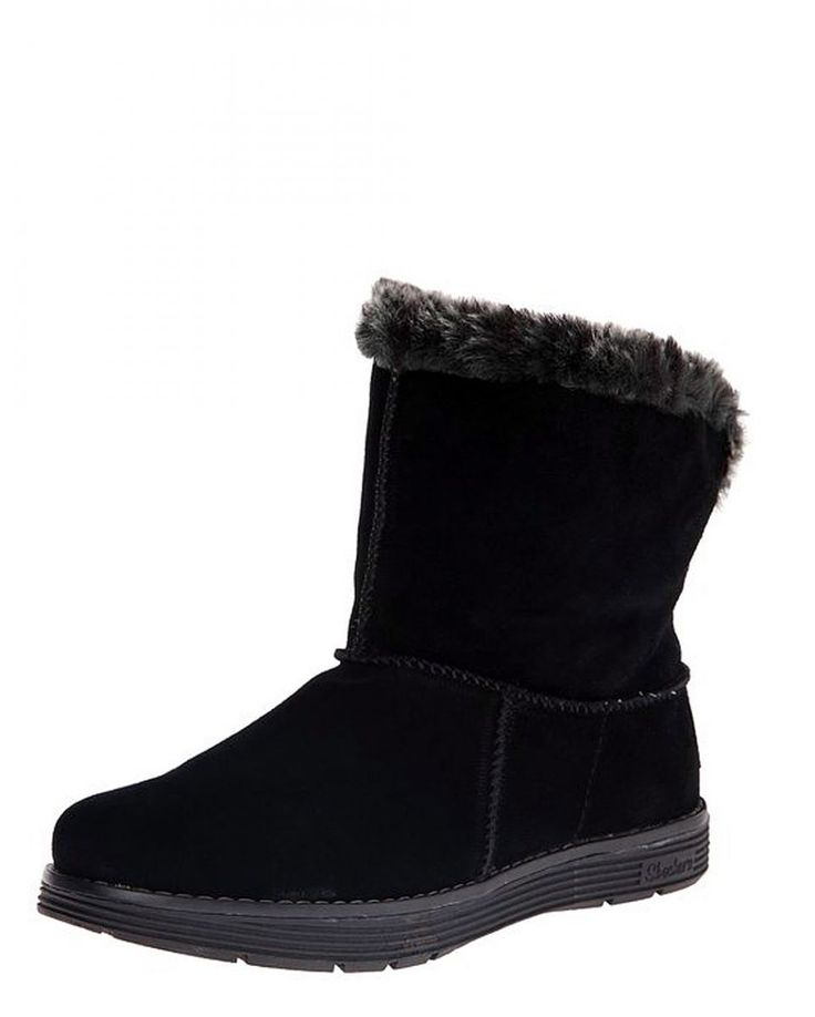 Skechers Adorbs Polar Black Fur Lined Women S Ankle Boots