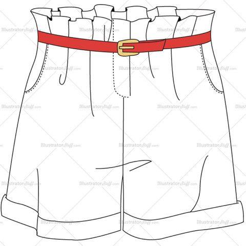 Women's High-Waisted Shorts Fashion Flat Template