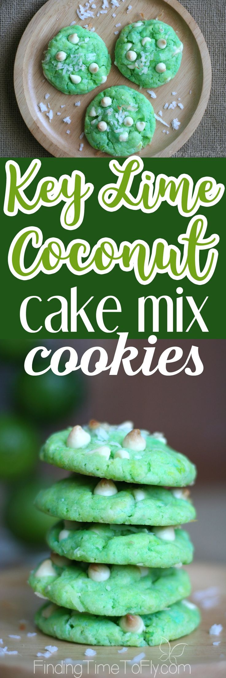 These soft baked Key Lime Coconut Cake Mix Pudding Cookies would be perfect for a St. Patrick's Day or Easter dessert. So easy to make, too!