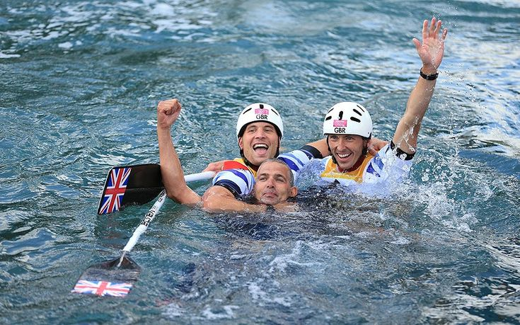 Great Britain's David Florence and Richard Hounslow celebrate a silver medal in the men's canoe double final
