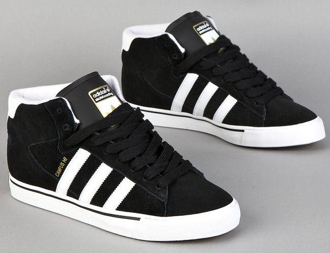 Adidas Skateboarding Campus Vulc Mid Black White  752b98e1486