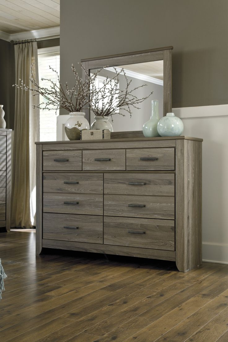 Zelen Collection Rustic Vintage Look Gray Finish Bedroom Dresser With Mirror Main Image