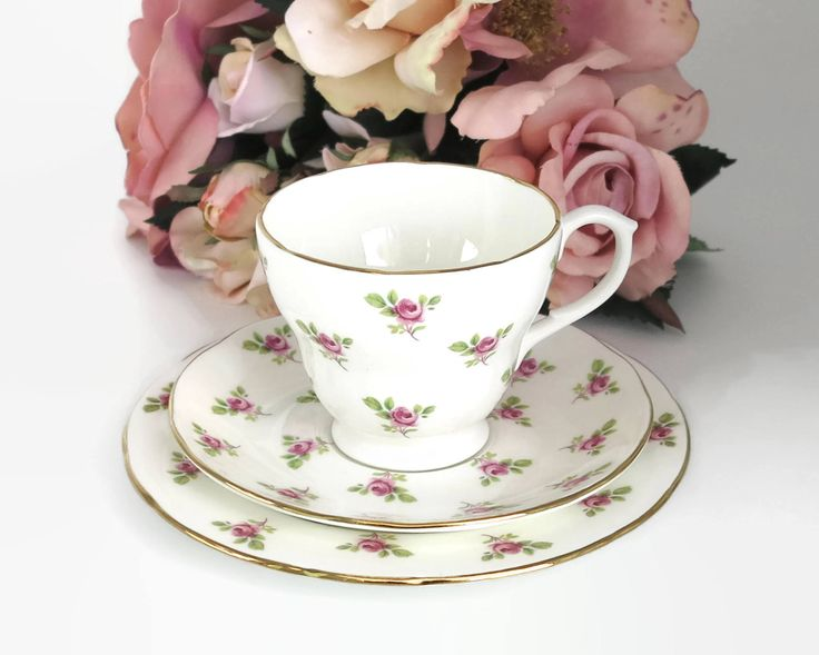 Vintage Duchess cup, saucer, and plate with pattern of scattered pink roses, gilt trim, fine bone china, England, circa 1960s by CardCurios on Etsy