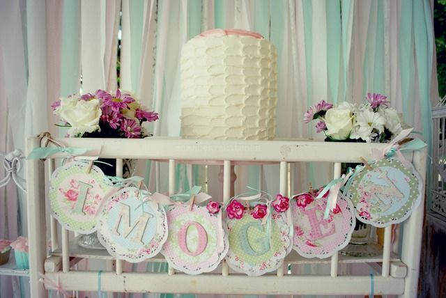 Shabby Pink and Mint Baby Shower Baby Shower Party Ideas | Photo 3 of 79