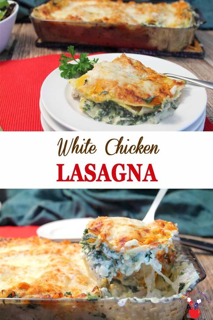 White Chicken Lasagna new | 2 Cookin Mamas A delicious white chicken lasagna layeredwith chicken, spinach, squash in acreamy,ooey, gooey cheese sauce. Acomplete all-in-one dinnerfor any night of the week. #dinner #chicken #lasagna #recipe