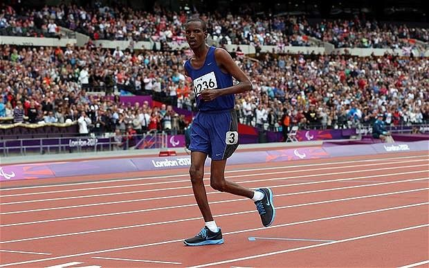 Paralympics 2012: Houssein Omar Hassan wins over hearts and minds with his brave, if slow, 1,500m performance  It felt like his painful slog might never end but bolstered by the heartfelt roars and cheers of 80,000 in the Olympic Stadium, an injured, one-armed runner from Djibouti, Houssein Omar Hassan, kept battling on to hobble his way into Paralympic legend.