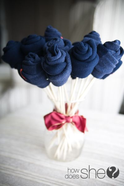 Great for baby shower! How to make a sock bouquet