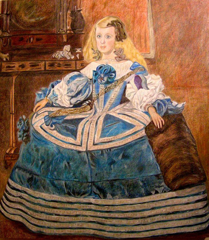 Infanta Margarita Teresa en un vestido azul.Tecnica mixta                       136x117 cm
