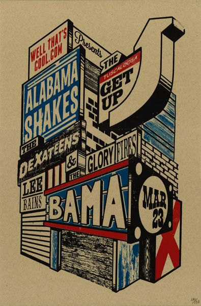 Alabama Shakes gig poster: Design Inspiration, Concerts Poster, Art Design, Gig Poster, Graphics Design, Music Poster, Alabama Shakes, Yellowhamm Creative, Design Design Design