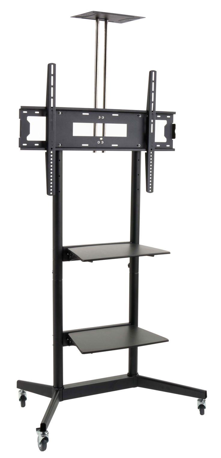 "Rolling TV Floor Stand, Fits Monitors 32"" - 84""+, Includes Camera Shelf - Black"