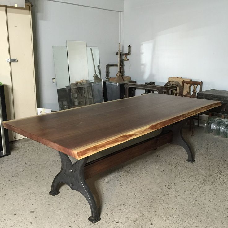 Live Edge Walnut Dining Table With Cast Iron Legs Canadian Woodworks