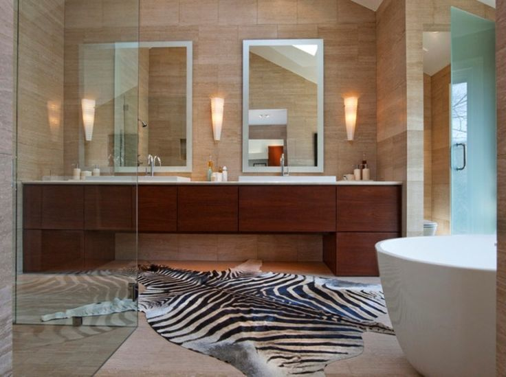 Bathroom Contemporary Zebra Print Bathroom View With Long Wooden Vanity And  White Sinks Near The White