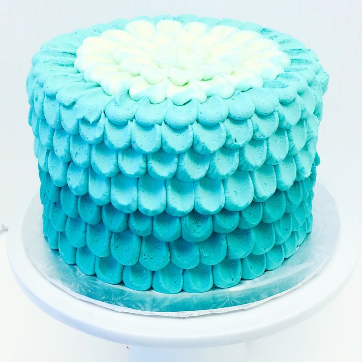 Mermaid inspired petal cake with blue ombre buttercream by Les Amis Bake Shoppe / Baton Rouge, LA