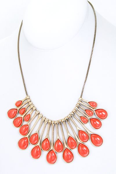 Pin-up Darling - Just a Few Drops Neclace in Coral, $14.95 (http://www.pinupdarling.com/just-a-few-drops-neclace-in/)