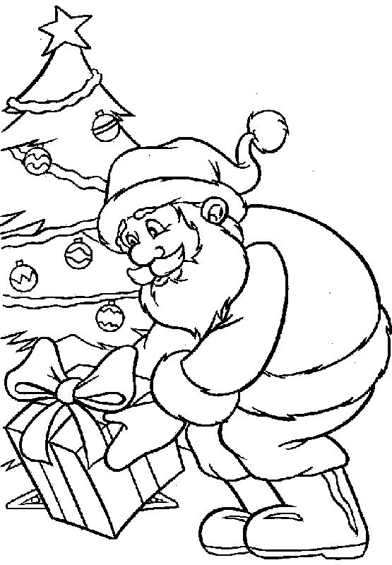 santa claus gives gifts in christmas coloring pages coloring pages pinterest christmas colors christmas and christmas coloring pages
