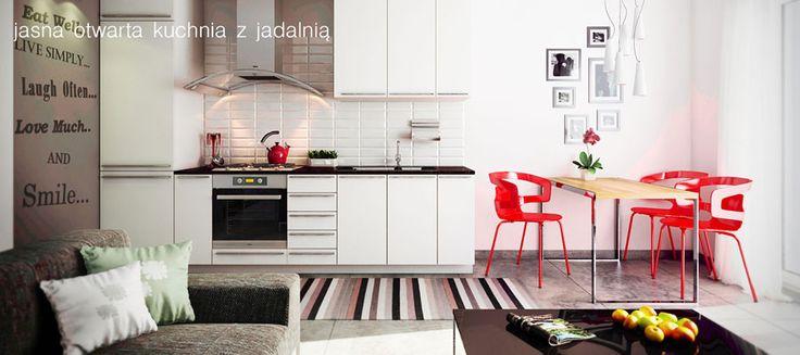 Podrzucamy kolejną wizualizację - jasna, otwarta kuchnia w mieszkaniu na osiedlu Świerkowa Polana. Może być Twoja!